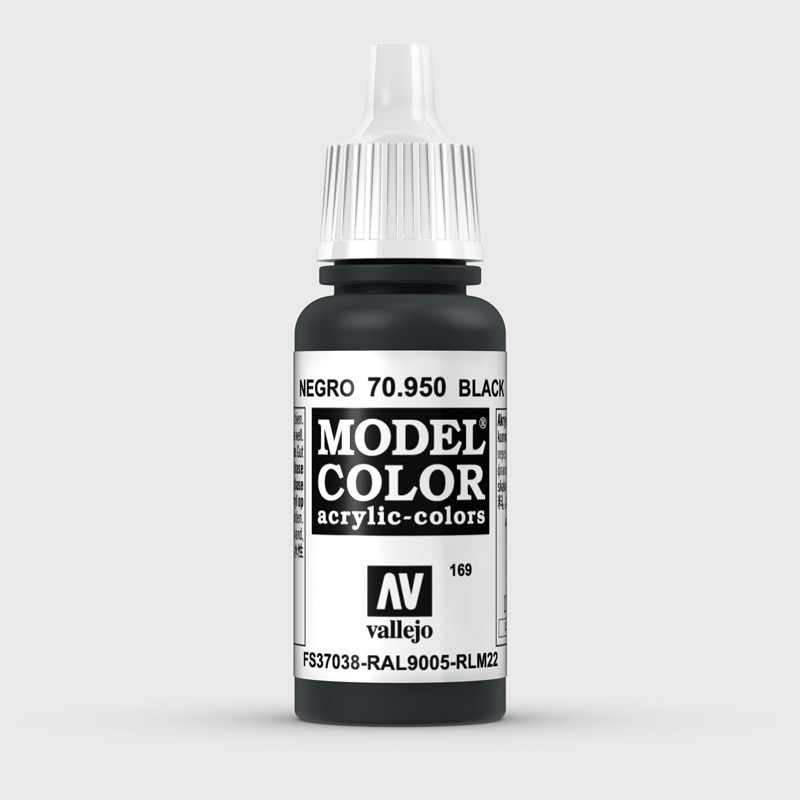 Pintura Aerografia Model Color 70.950 Negro Vallejo 17ml.