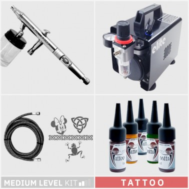Kit Aerografía Tatuaje Temporal Tattoo Nivel Medio