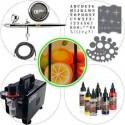 """<p>Equipo de aerografía avanzado para bellas artes compuesto de</p> <ul> <li>Aerógrafo Harder & Steenbeck Evolution CRplus 0.2mm</li> <li>Compresor Elite ES860C</li> <li>Pintura Createx Illustration 5081-00 Primary kit 6 botellas</li> <li>Manguera trenzada</li> <li>Tres plantillas <a href=""""http://www.todostencil.com"""" target=""""_blank"""">TODO STENCIL</a></li> <li>Conector rápido con regulador</li> </ul>"""