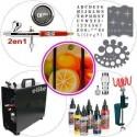"Kit de aerograf&iacute;a master para bellas artes compuesto de:&nbsp; <ul> <li>Aer&oacute;grafo Harder & Steenbeck Infinity Crplus 2en1</li> <li>Compresor Elite ES890C</li> <li>Manguera con 2 conexiones 1/8 hembra</li> <li>Pintura Createx Illustration Colors - kit 6 botellas</li> <li>Plantillas&nbsp;de <a href=""http://www.todostencil.com"" target=""_blank"">TODO STENCIL</a></li> <li>conector r&aacute;pido con regulador de aire</li> <li>Soporte con abrazadera para 2 aerografos</li> <li>Kit de 5 baquetas de limpieza</li> <li>Filtro anti-humedad</li> </ul>"