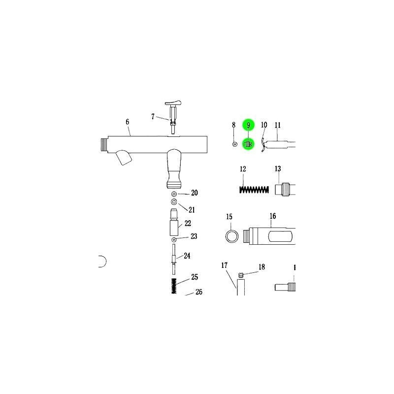 Recambio Aerografo Elite E4182 Rosca Guia Aguja