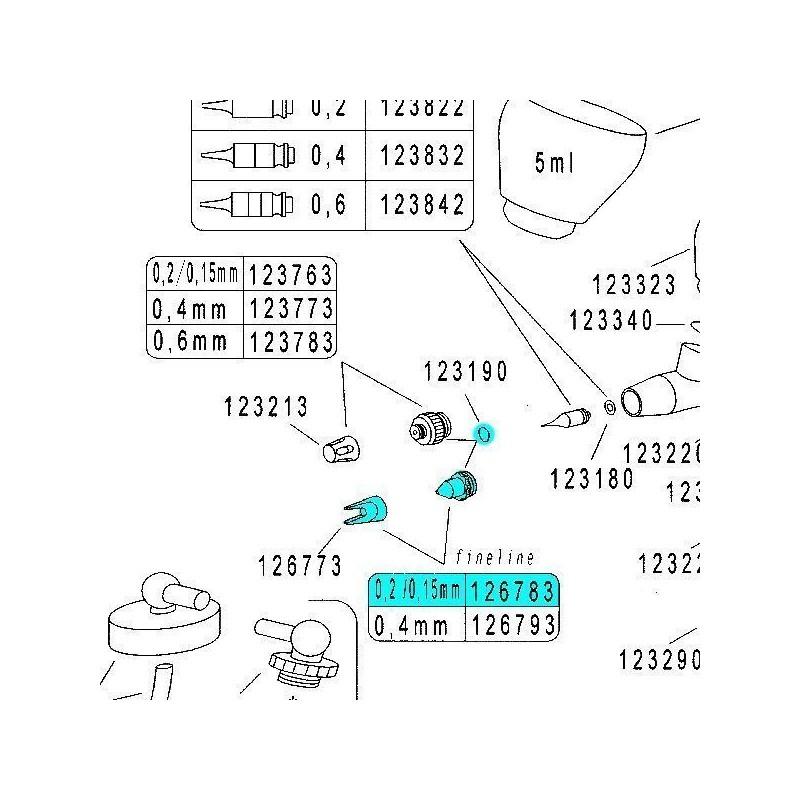 Recambio Aerografo Harder Infinity Tapa Aguja 0.15/0.2mm