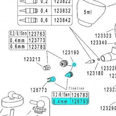 Recambio Aerografo Harder Infinity Tapa Aguja 0.4mm