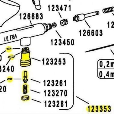 Recambio Aerografo Harder Valvula Aire Completa