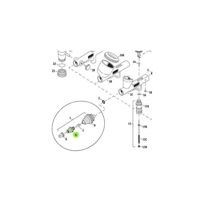 Recambio Aerografo Iwata Custom Micron Tapa Boquilla 0.18