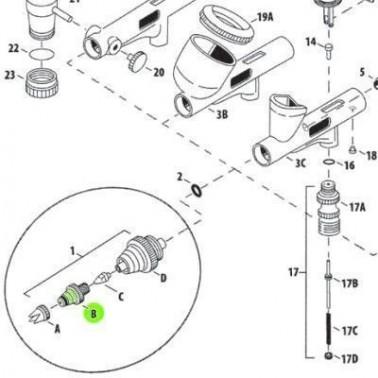 Recambio Aerografo Iwata Custom Micron Tapa Boquilla 0.23