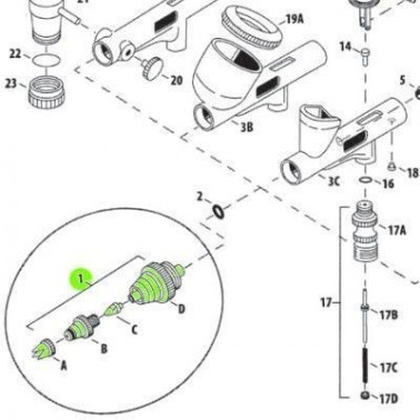 Recambio Aerografo Iwata Custom Micron Set Boquilla 0.23