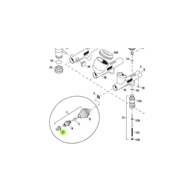 Recambio Aerografo Iwata Custom Micron Tapa Aguja