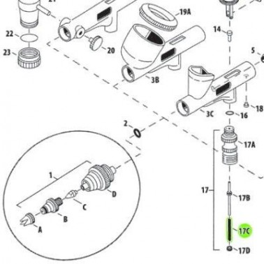 Recambio Aerografo Iwata Custom Micron Resorte Valvula Aire
