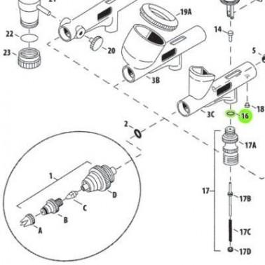 Recambio Aerografo Iwata Custom Micron Junta Piston