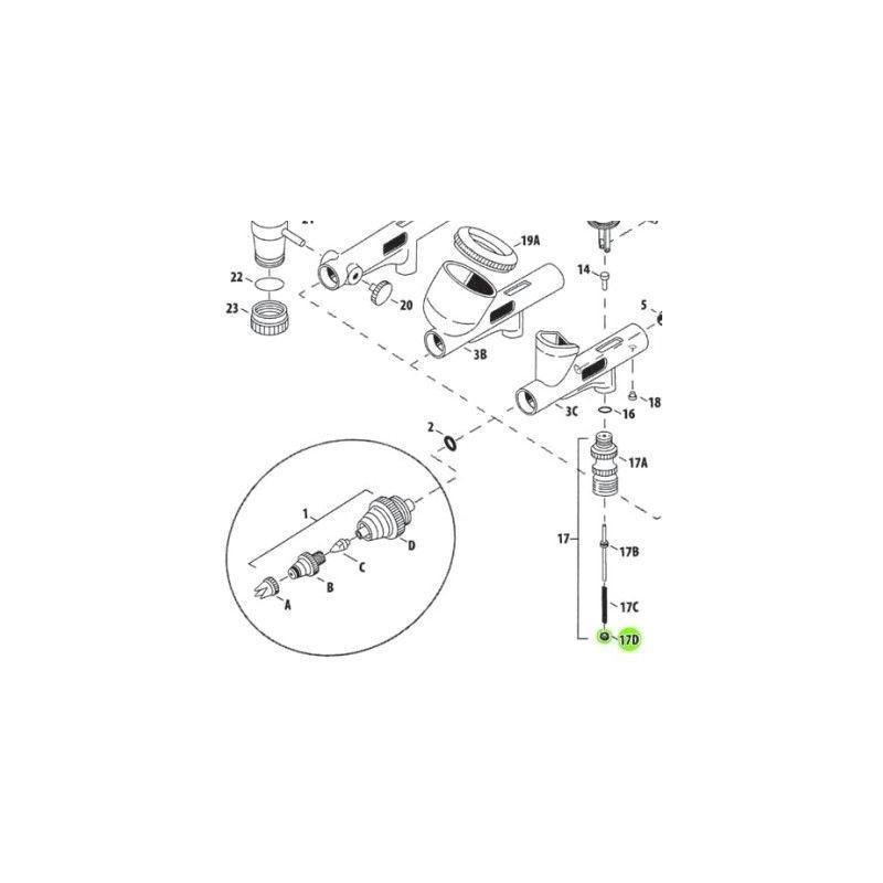 Recambio Aerografo Iwata Custom Micron Guia Valvula Aire