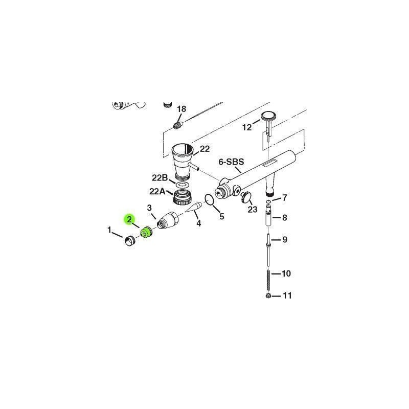 Recambio Aerografo Iwata Eclipse Tapa Boquilla 0.35