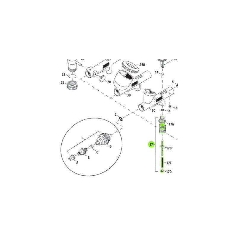 Recambio Aerografo Iwata Custom Micron Set Valvula Aire
