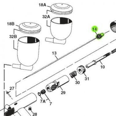 Recambio Aerografo Iwata Revolution Tornillo Porta Aguja