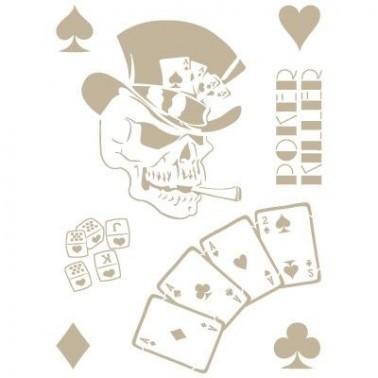 Stencil Aerografia Calavera 008 Poker