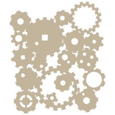 Stencil Aerografia Efectos 005 Engranajes Simple