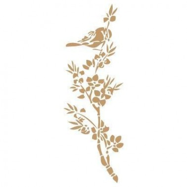 Stencil Deco Animales 001 Pájaro Almendro