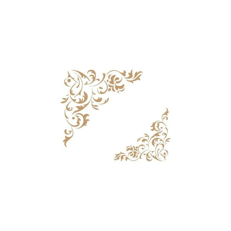 TODO-STENCIL Deco Cenefa 034 Floral Esquina Medidas aproximadas Medida Exterior 20 x 20 cm Medida del dise/ño:11,6 x 10,9 cm Medida de la Figura 1 8 x 7,5 cm