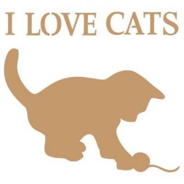 Stencil Deco Vintage Composición 031 I Love Cats