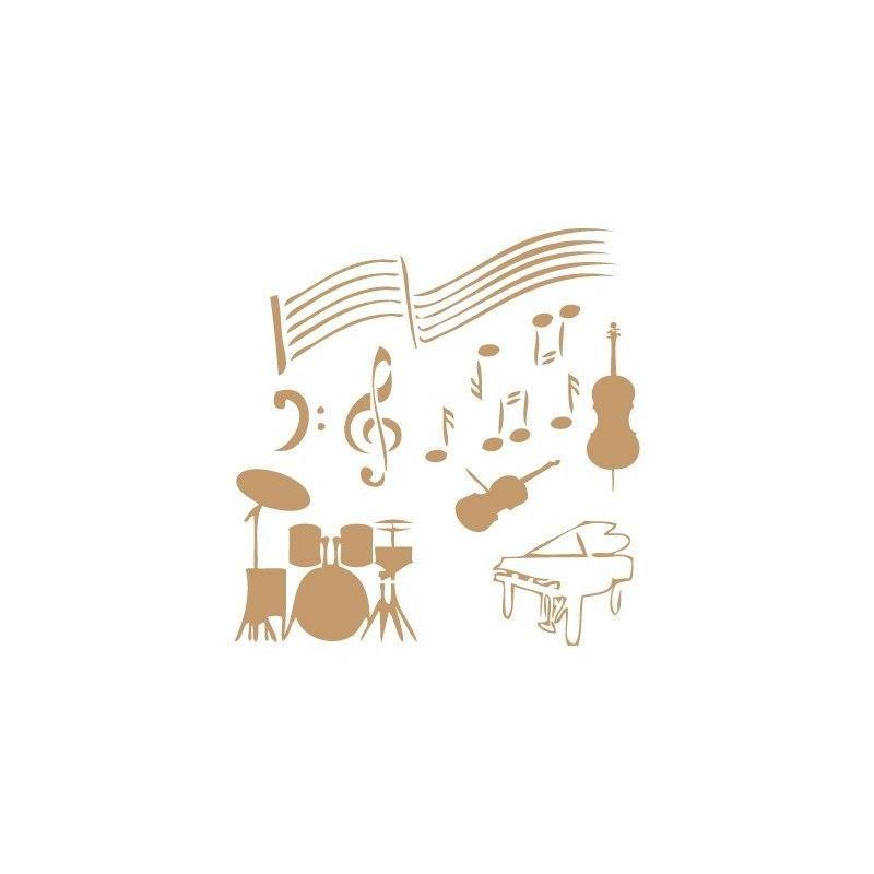Stencil Deco Vintage Composición 043 Musica