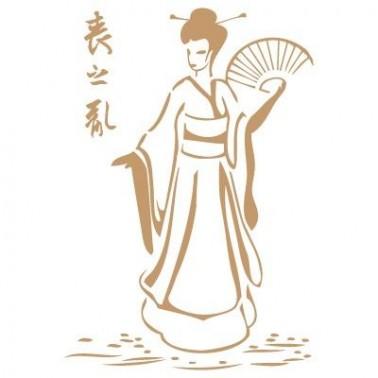 Stencil Deco Vintage Composición 049 Geisha Abanico