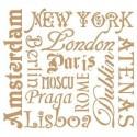 Stencil Deco Vintage Composición 092 Ciudades