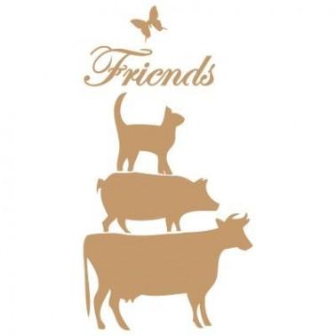 Stencil Deco Vintage Composición 111 Freinds Animales