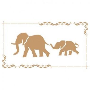 Stencil Deco Vintage Composición 160 Elefantes