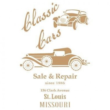 Stencil Deco Vintage Composición 178 Classic Cars