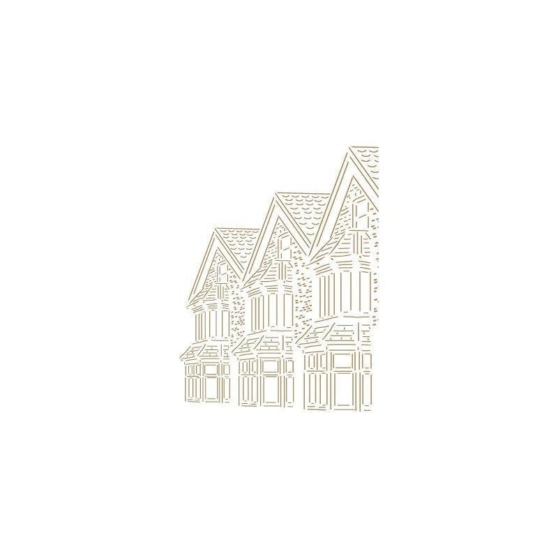 Stencil Deco Vintage Composición 187 Casas Inglesas