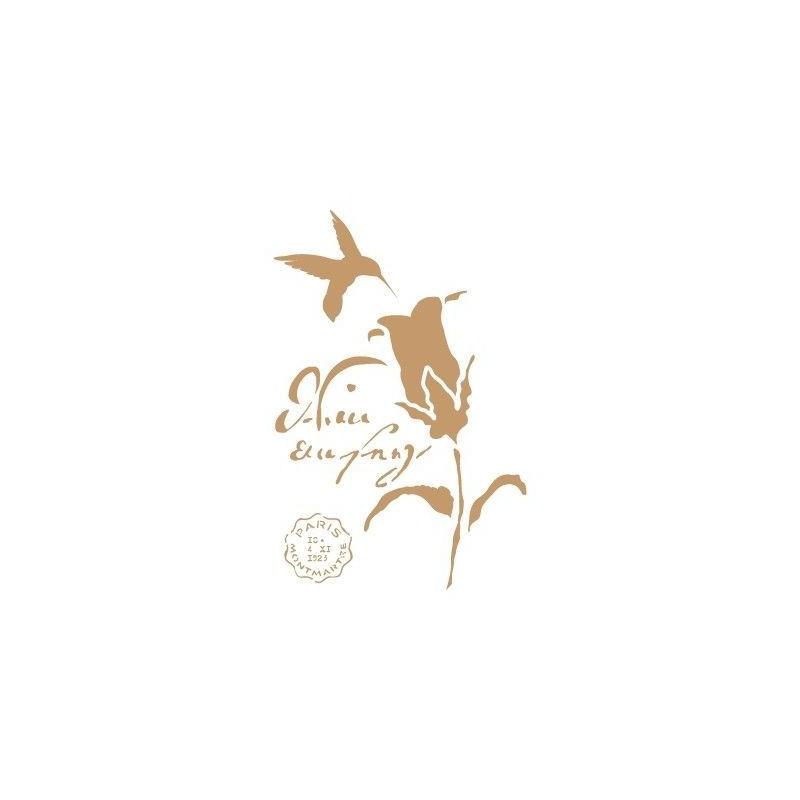 Stencil Deco Vintage Composición 188 Colibri Flor
