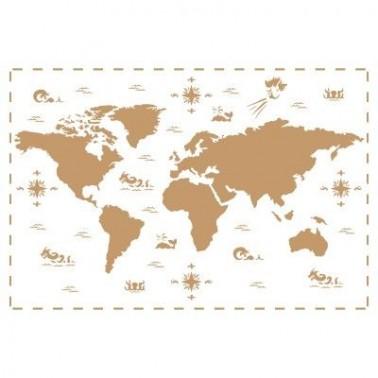 Stencil Deco Vintage Composición 190 Mapa Mundi