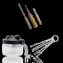 <p><strong>Kit de Limpieza y Herramientas para Aerógrafos.</strong></p> <p>Incluye:</p> <ul> <li>Estación de limpieza / soporte</li> <li>Aguja limpia boquillas</li> <li>5 cepillos de limpieza</li> <li>Destornillador</li> <li>Herramienta para desmontar la válvula</li> </ul>