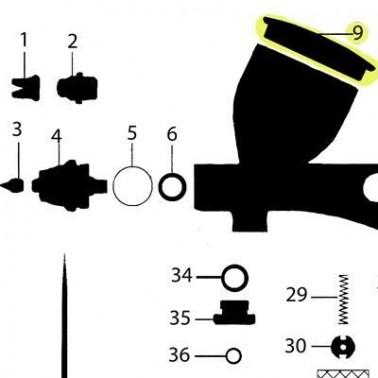 Recambio Tapa Depósito Aerografo Elite Q5