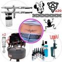 "Kit de aerografía master para tatuaje compuesto de: <br /> <ul> <li>2 Aerógrafos Elite E4182</li> <li>CompresorSilencioso ES1200</li> <li>2 Mangueras</li> <li>20 plantillas tattoo <a href=""http://www.todostencil.com"" target=""_blank"">TODO STENCIL</a></li> <li>Kit de 8 tintes Senjo Tattoo Ink + limpiador + polvo fijador</li> <li>Soporte de abrazadera para 2 aerógrafos</li> <li>2 conectores rápidos con regulador de presión</li> <li>2 juegos de baquetas de limpieza</li> <li>2 mini filtros anti humedad</li> </ul>"